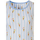 Rebelle 'sweet little ice creams' white & pale blue sleeveless cotton verticle striped nightdress with an all over pattern of 'sweet little ice creams'