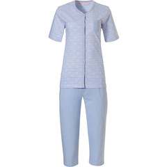 Pastunette katoenen doorknoop pyjama met korte mouwen en 3/4 broek ' ♥ heart lines  ♥'