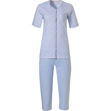 Pastunette ' ♥ heart lines  ♥ ' lichtblauwe & roze gestreepte katoenen doorknoop pyjama set met borstzakje, mooi roze '♥ heart lines ♥ ' patroon en 3/4e blauwe capri broek