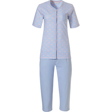 Pastunette  ♥ heart lines  ♥' pale blue & pink stripey full button cotton pyjama set with chest pocket, pretty pink '@heart@ heart lines @heart@' pattern and 3/4 blue pants