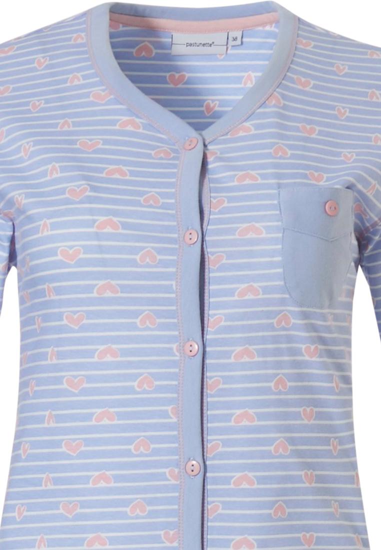 Pastunette  '♥ heart lines ♥' pale blue & pink full button cotton pyjama set with chest pocket, pretty pink '♥ heart lines ♥' pattern and 3/4 blue pants