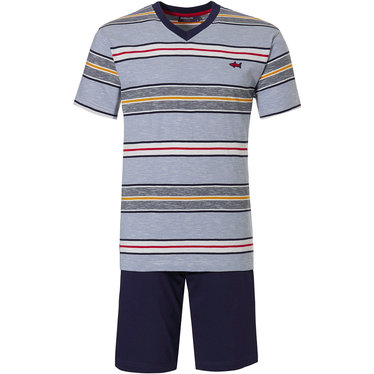 Pastunette for Men 'cool red shark, stripe it up' red, yellow & blue 100% cotton mens shorty set with a 'cool red shark' a trendy 'stripe it up' pattern and blue cotton shorts