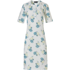 Pastunette short sleeve cotton nightdress with buttons 'floral blue classic'