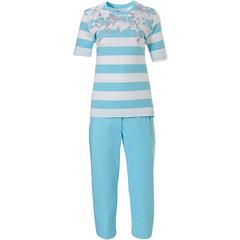 Pastunette short sleeve cotton pyjama set 'floral dream garden, horizontal lines'