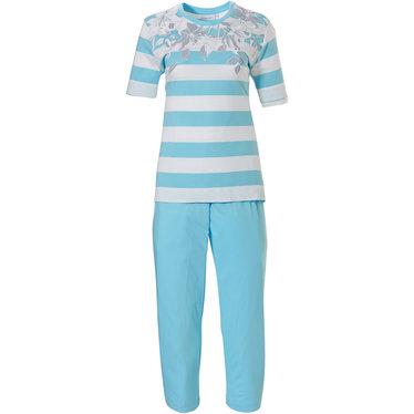 Pastunette katoenen pyjama met korte mouwen 'floral dream garden, horizontale lijnen'