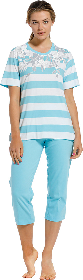 Pastunette 'floral dream garden, horizontal lines' light sky blue & pure white ladies 100% cotton short sleeve pyjama set with a lovely combination of horizontal stripes, a pretty floral design and 3/4 light sky blue pants