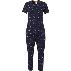 Rebelle dark blue cotton 3/4 pyjama 'buzzy honeybees'