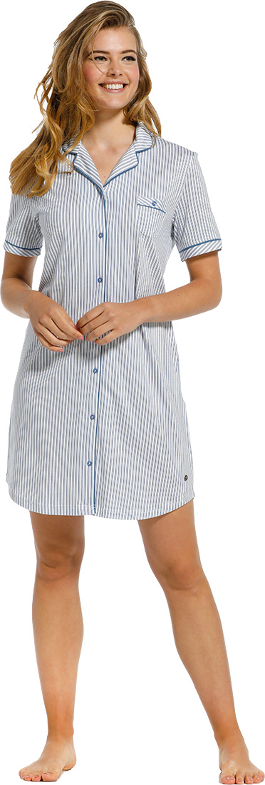 Pastunette Deluxe 'just simply stripes' pure white & mid sky blue cotton-modal full button nightdress with revere collar, chest pocket and all over 'just simply stripes'