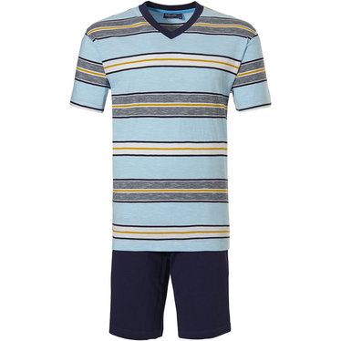 Pastunette for Men 'block of fine stripes' turquoise blue, yelllow & dark blue, 100% cotton slub yarn mens shorty set with 'v 'neck and dark blue cotton shorts with an elasticated waist