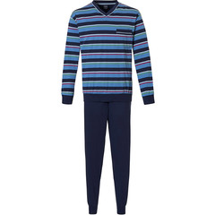 Robson men's cotton pyjama cuffed pants 'rugby stripes'