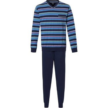 Robson 'rugby stripes' dark blue, red & green, 100% cotton mens sporty striped 'v' neck pyjama set with chest pocket and dark blue long cuffed pants