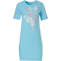 Pastunette short sleeve sky blue cotton nightdress 'floral dream garden'