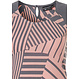 Pastunette Deluxe 'grapic art stripes' salmon pink & grey sleeveless dress with an all over 'grapic art stripes' print and back button loop neck fastening