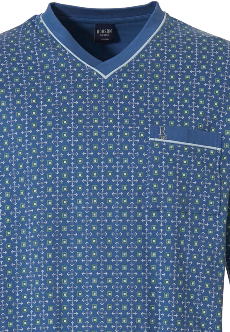 Robson 'squares & shields' fresh mid blue & green 100% cotton mens 'v' neck patterned pyjama set with chest pocket and long fresh mid blue cuffed pants
