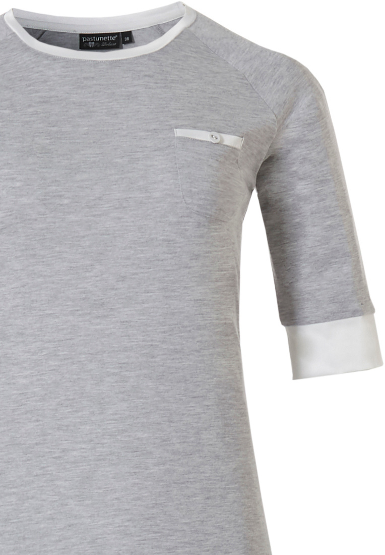 Pastunette Deluxe 'charming elegance' mid shade of grey & pure white luxury short sleeve pyjama with chest pocket, luxury pure white soft as satin trimmings and long mid grey pants