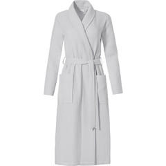 Pastunette ladies pure white morninggown with shawlcollar 'square waffle design'