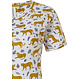 Rebelle 'Rebelle wildcat' white & mustard yellow short sleeve cotton nightdress with an all over cat print