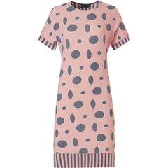 Pastunette Deluxe short sleeve nightdress 'oval dots & stripes'