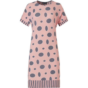 Pastunette Deluxe 'oval dots & stripes' salmon pink & grey short sleeve 95% modal nightdress with an all over 'oval dots & stripes' pattern