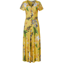 Pastunette Beach short sleeve full button beach dress 'sunshine garden'