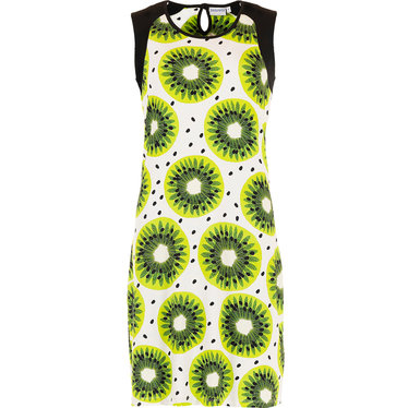 Pastunette Beach 'fruity kiwi passion' white, lime green & kiwi green sleeveless beachdress with back loop style button and all over pretty Summer 'fruity kiwi passion' pattern