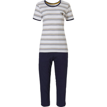 Rebelle Girls 'buzzy honeybees' white, dark blue & yellow short sleeve cotton girls pyjama set with cool stripes and 3/4 blue pants