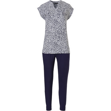 Pastunette Deluxe 'chic animal print' pure white & dark blue capped sleeve homewear set with with fashionable 'v'neck, a modern all over 'chic animal print', two chest pockets and long dark blue cuffed pants