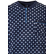 Robson 'symmetrical octad symbol' dark blue & cadet blue mens long sleeve cotton pyjama with 3 buttons, chest pocket and long dark blue cuffed pants with an elasticated waist