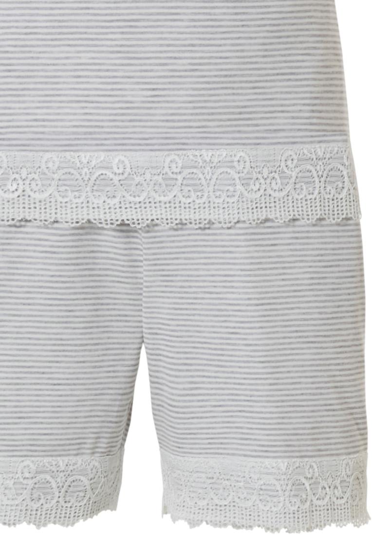Pastunette Deluxe luxe spaghetti shortama voor dames 'striped elegance & lace'