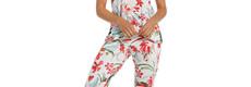 Pastunette Deluxe dames pyjama met korte mouwen 'Hawaiian tropical flower'