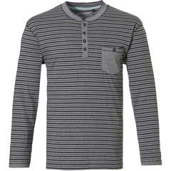 Pastunette for Men Mix & Match, grey katoenen, heren pyjama top met lange mouwen en knoopjes