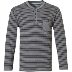 Pastunette for Men Mix & Match long sleeve, mens grey stripey cotton top with buttons