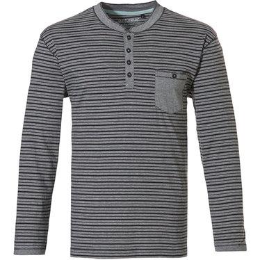 Pastunette for Men heren Mix & Match lounge-stijl, grijze, katoenen, strepen pyjama top met lange mouwen 'in the stripe' met 3 knoopjes aan de hals