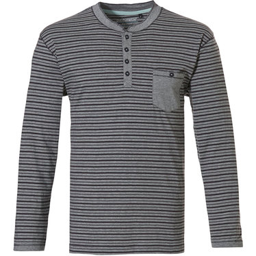 Pastunette for Men men's Mix & Match lounge-style stripey long sleeve navy grey cotton pyjama top with 3 buttons 'in the stripe'