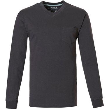 Pastunette for Men dark grey cotton long sleeved men's pyjama top with cuffs