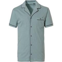 Pastunette for Men light green short sleeve mens full button cotton pyjama top 'link of bricks'