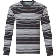 Pastunette for Men Mix & Match stripey long sleeve cotton pyjama top