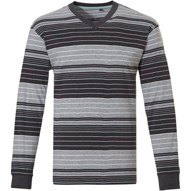 Pastunette for Men a modern red, white and grey multi-striped men's long sleeved pyjama top