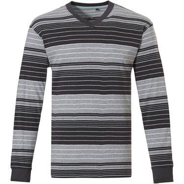 Pastunette for Men moderne, grijs gestreepte heren pyjama top met lange mouwen met boord