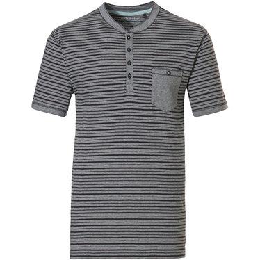 Pastunette for Men heren Mix & Match lounge-stijl, grijze, katoenen, strepen pyjama top met korte mouwen 'in the stripe' met knoopjes aan de hals