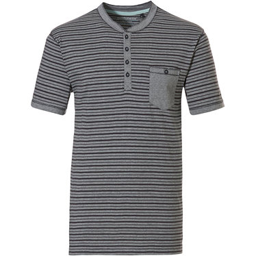 Pastunette for Men men's Mix & Match lounge-style stripey short sleeve navy grey cotton pyjama top with 3 buttons