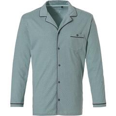 Pastunette for Men lichtgroene, katoenen doorknoop pyjama top met lange mouwen 'link of bricks'