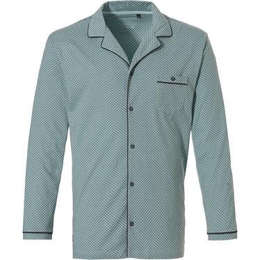 Pastunette for Men Mix & Match, lichtgroen & grijze, doorknoop, heren pyjama top met lange mouwen, reverskraag  en borstzakje 'link of bricks'