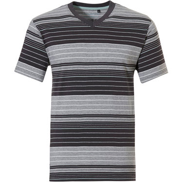 Pastunette for Men a modern red, white and grey multi-striped men's short sleeved pyjama top