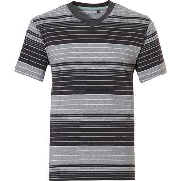 Pastunette for Men moderne, grijs gestreepte heren pyjama top met korte mouwen