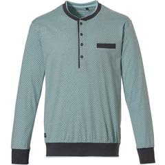 Pastunette for Men Mix & Match long sleeve, light green mens cotton top with 4 buttons