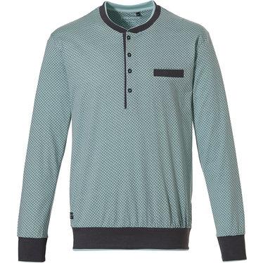 Pastunette for Men heren Mix & Match licht groen & grijze katoenen pyjama top voor heren met 4 knoopjes aan de hals 'link of bricks'