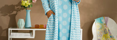 Pastunette Deluxe badjas met ritssluiting en taillekoord 'Retro ZigZag'