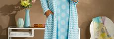 Pastunette Deluxe 'Retro ZigZag' bathrobe with zip & tie waist