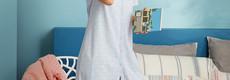 Pastunette katoenen doorknoop nachthemd met korte mouwen ' ♥ heart lines  ♥'